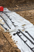 Preparation for installation of geothermal heat pipes in the gro — Foto Stock