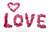 """Word """"Love"""" made of rose petals — Stock Photo"""
