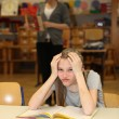 Overburdened student in the school — Stock Photo #7957122