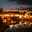 Stock Photo: Tiber river and night illuminated Vaticcity at evening.