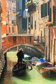 Gondola on canal in Venice, Italy. — Stock Photo