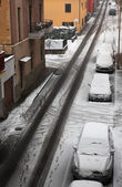 City street covered by snow. — Stock Photo