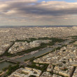 Panoramic aerial view on Paris and Seine river. — Stock Photo