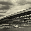 Royalty-Free Stock Photo: Panoramic view on bridge over the Seine river (sepia toned).