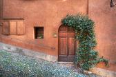 Puerta de madera en la pared color oxidada. — Foto de Stock