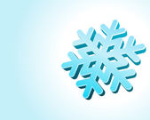 Blue christmas background with 3d snowflake — Stock Vector