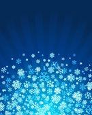 Blauwe kerstmis achtergrond met sneeuwvlokken — Stockvector