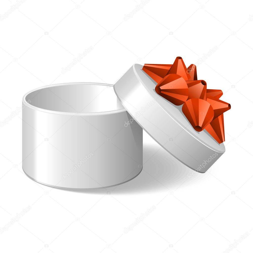 Open empty white gift with orange bow vector illustration — Stock Vector #6788059