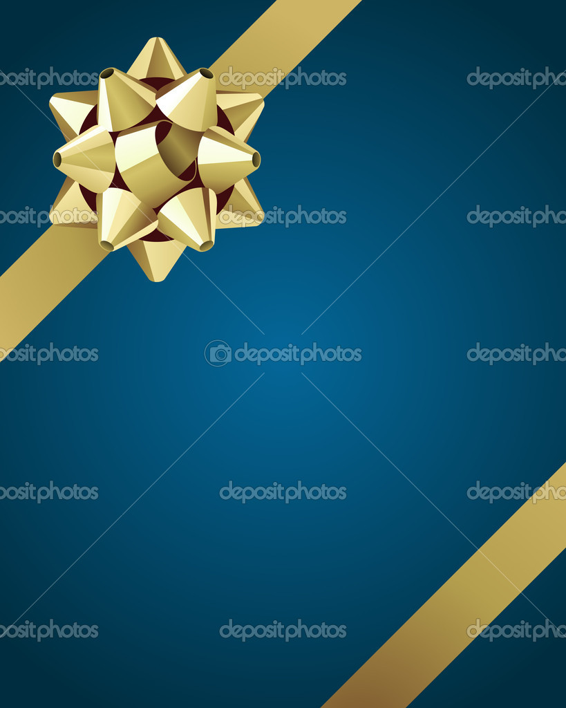 Greeting card with gold bow vector background — Stock Vector #6788075