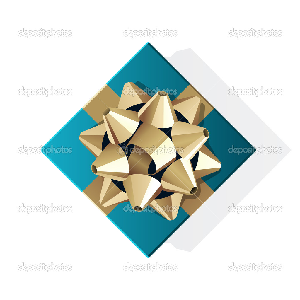Blue gift top view with gold bow vector illustration — Stock Vector #6788082