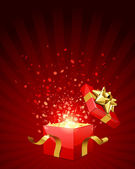 Open red explore gift with fly stars — Wektor stockowy