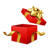 Open empty red gift with gold bow — Stockvektor
