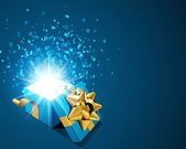 Open blue explore gift with fly stars — Vector de stock
