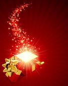 Aprire rosso esplorare regalo con stelle mosca — Vettoriale Stock