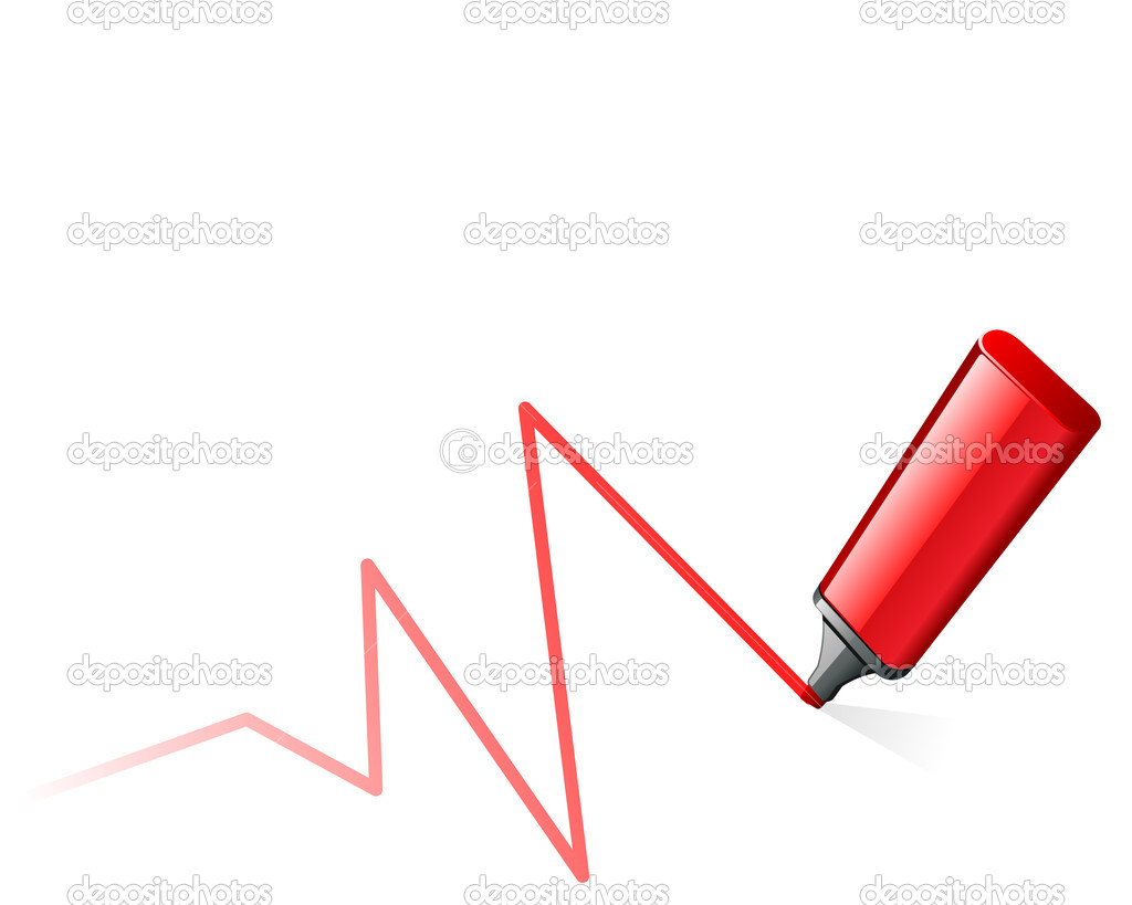 Red highlighter pen draw graph illustration  Stock Vector #6821100