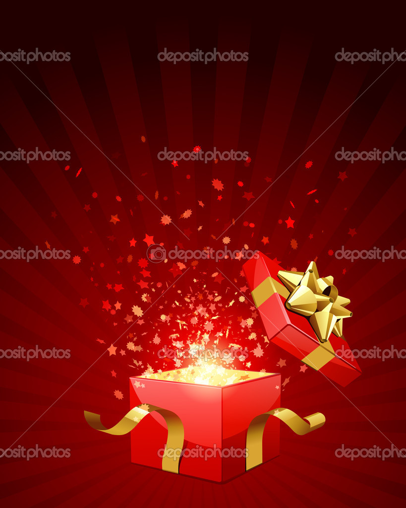 Open red explore gift with gold bow and fly stars vector background — Stockvektor #6821755