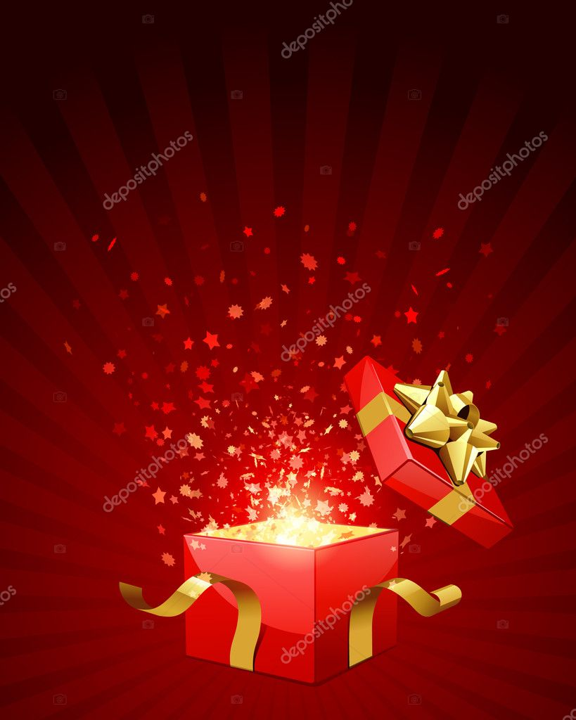 Open red explore gift with gold bow and fly stars vector background — Imagens vectoriais em stock #6821755