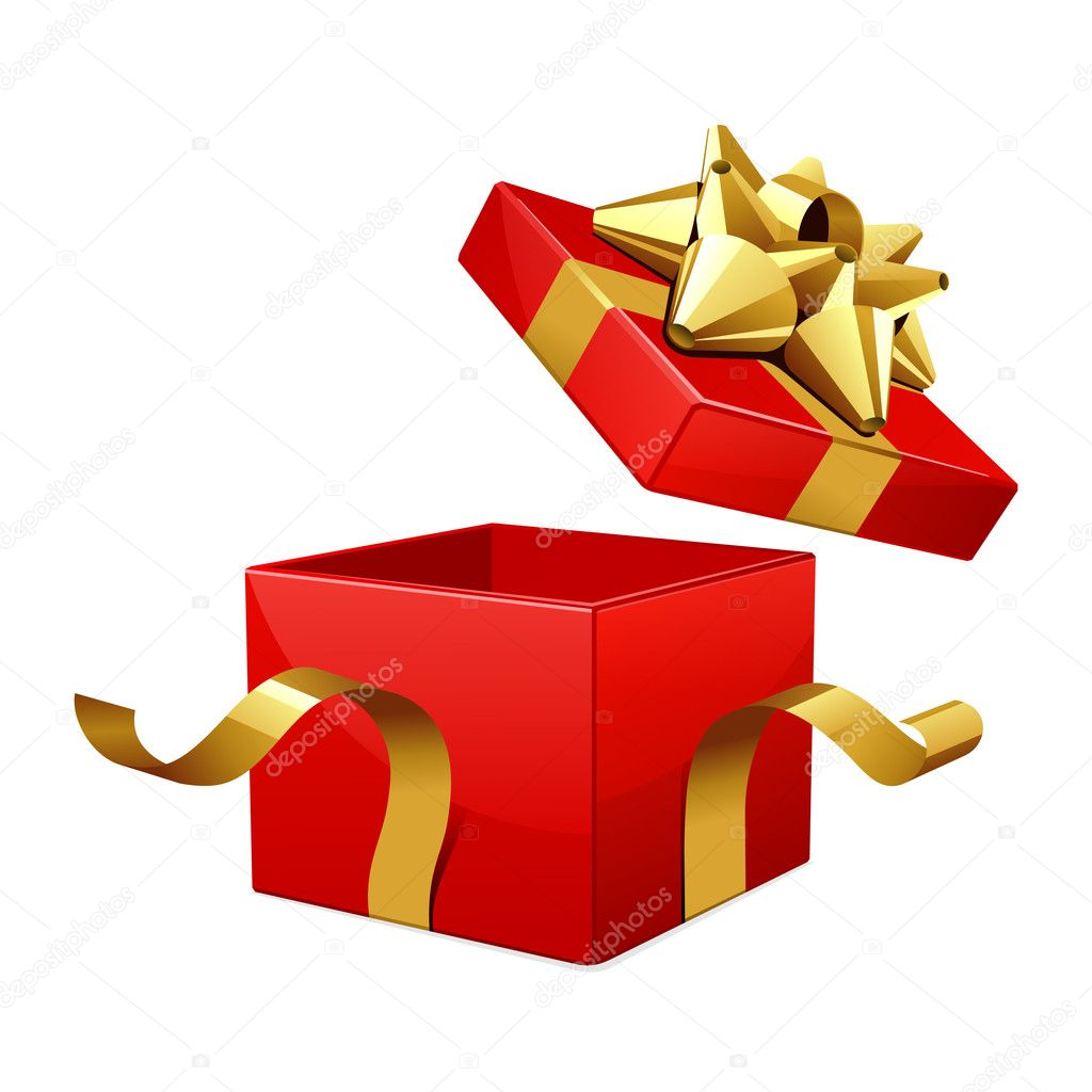 Open empty red gift with gold bow vector illustration — Stock Vector #6821757