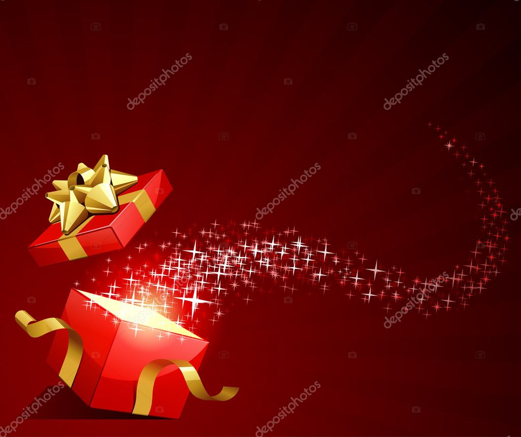 Open red explore gift with gold bow and fly stars vector background — Stock Vector #6821759