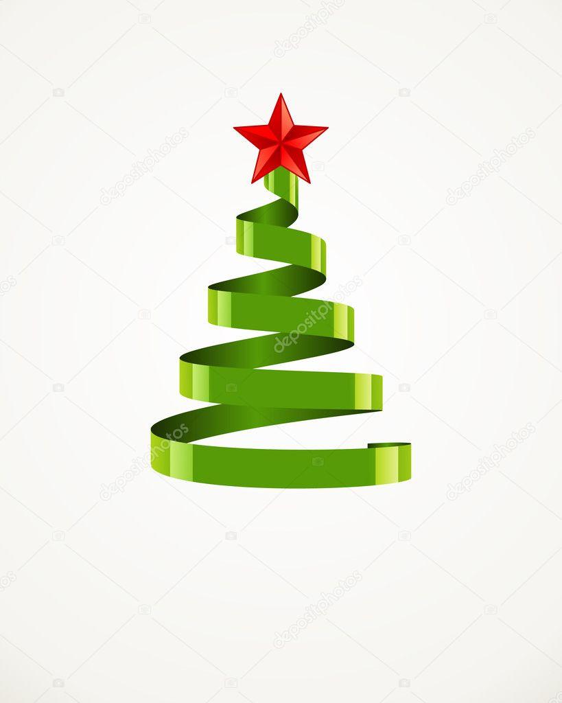 rbol de navidad de la cinta con la estrella u vector de stock