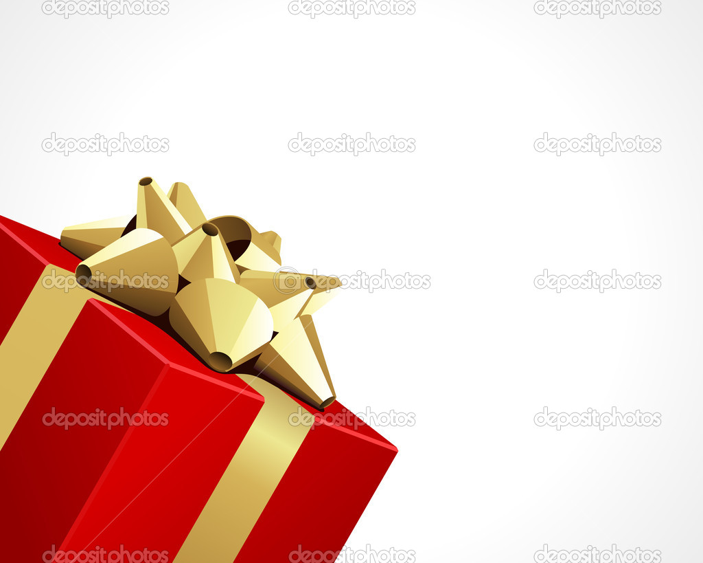 Red gift with gold bow vector background — Stock Vector #6822114