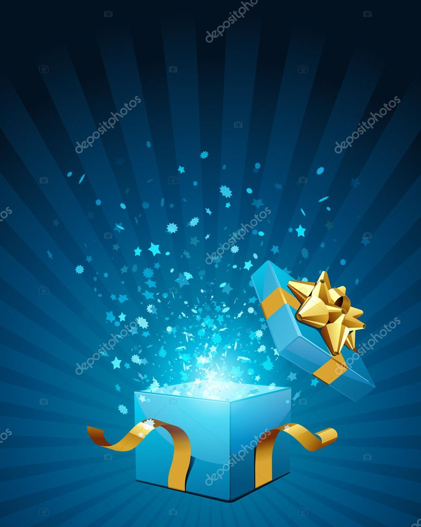 Open blue explore gift with gold bow and fly stars vector background — Stock Vector #6822201