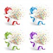 Open gift with fireworks from confetti set — Stock Vector