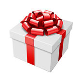 White gift box with red bow — Stock Vector