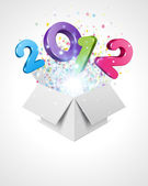 Happy new year 2012 3d message fly from open box — Stock Vector