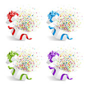 Open gift with fireworks from confetti set — Vector de stock