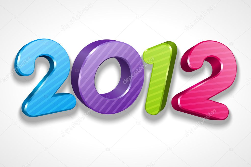 Happy new year 2012 3d message vector background  Stock Vector #6930735