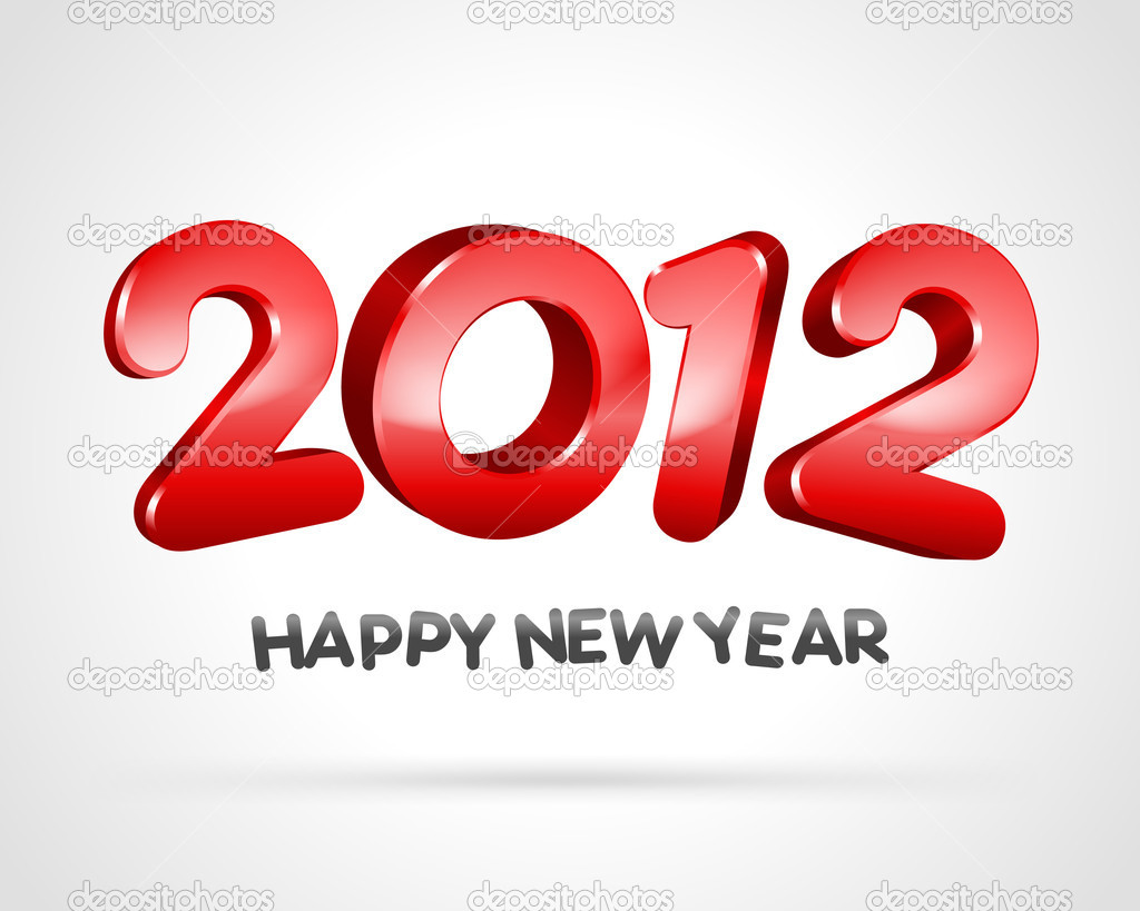 Happy new year 2012 3d message vector background — Векторная иллюстрация #6930737