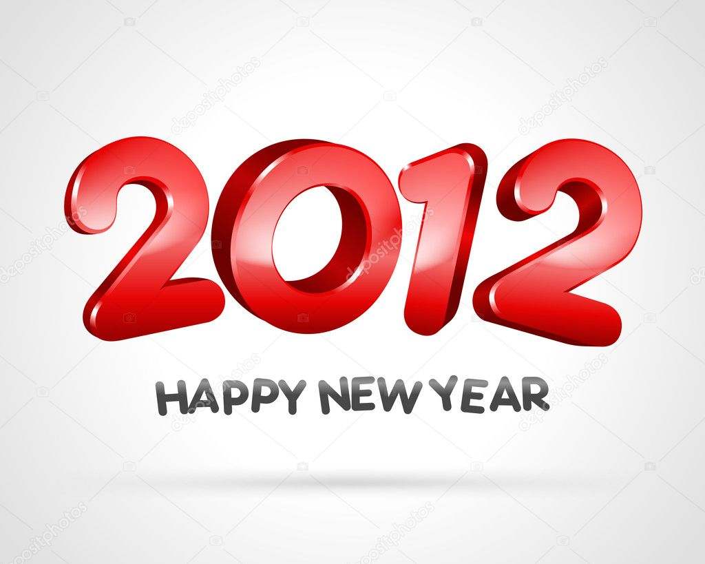 Happy new year 2012 3d message vector background — Stock Vector #6930737