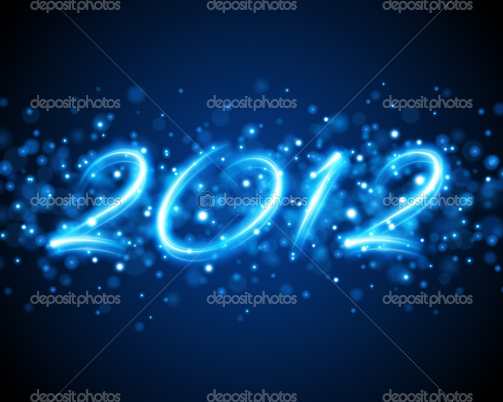 Happy new year 2012 message from neon background — Stockvectorbeeld #6930747