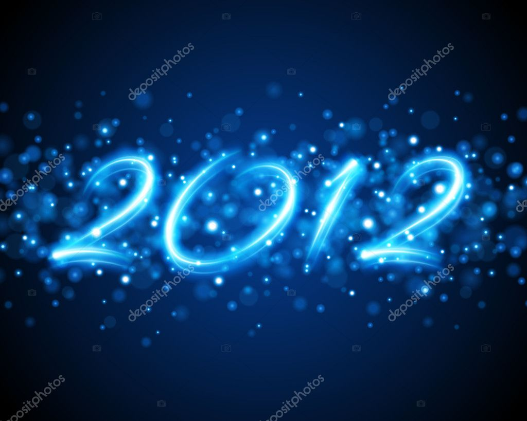 Happy new year 2012 message from neon background — Grafika wektorowa #6930747