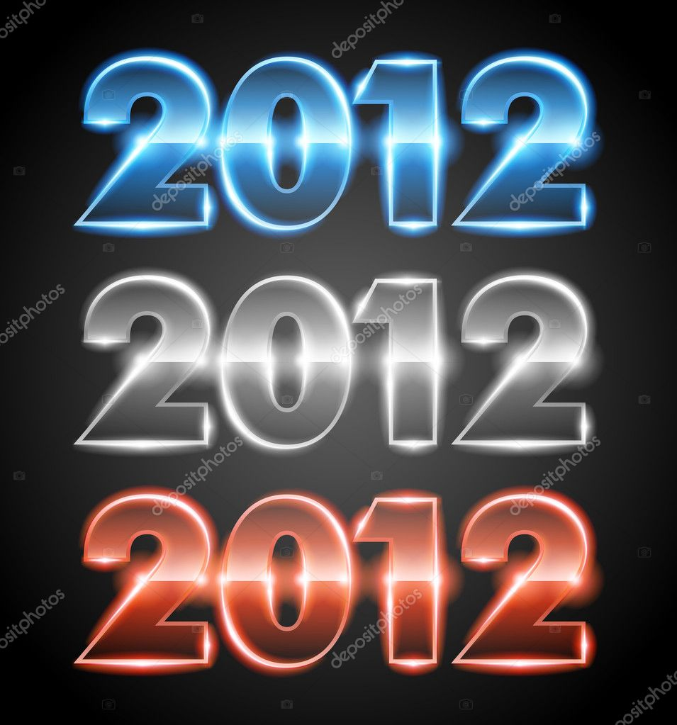 Happy new year 2012 message from neon design elements — Stock Vector #6930749
