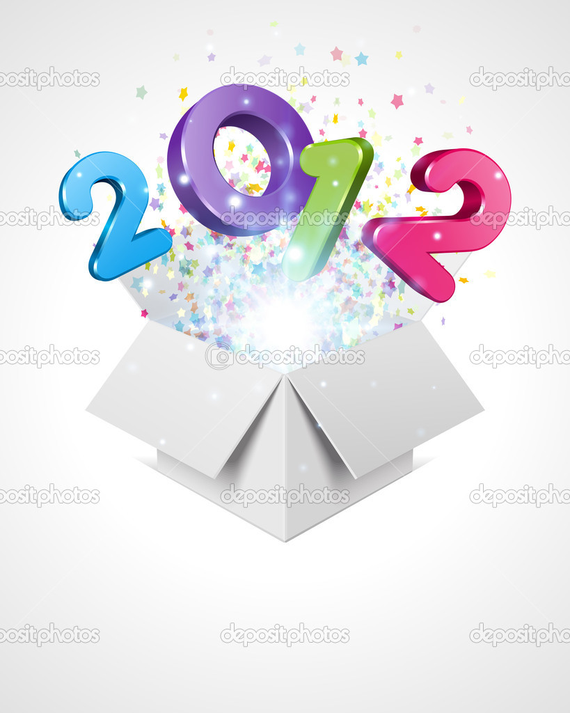 Happy new year 2012 3d message fly from open box vector background — Imagen vectorial #6930770