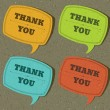 Vintage speech bubble with thank you message set on old textured paper - Stockvectorbeeld