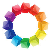 Color wheel 3d from cubes — Stock Vector