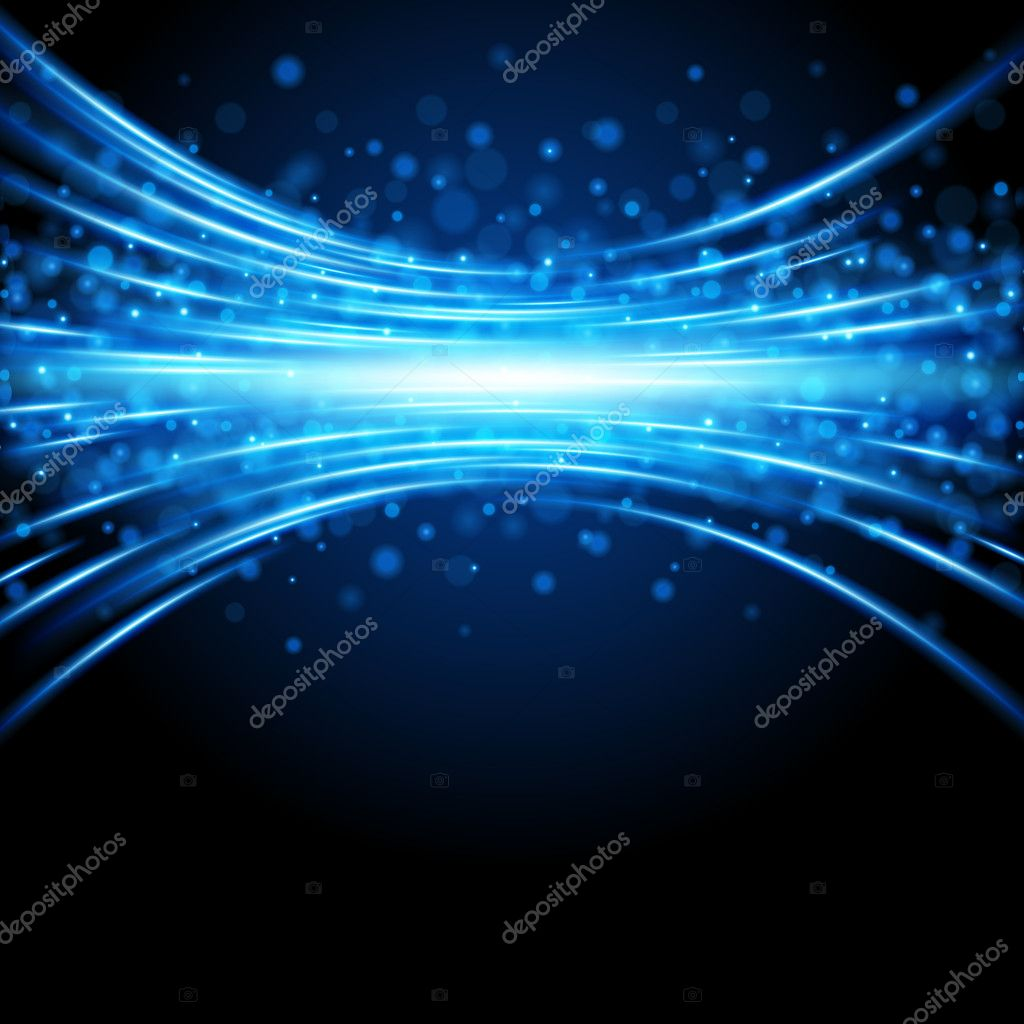 Blue smooth light lines with lens effect background  Stock Vector #7344523