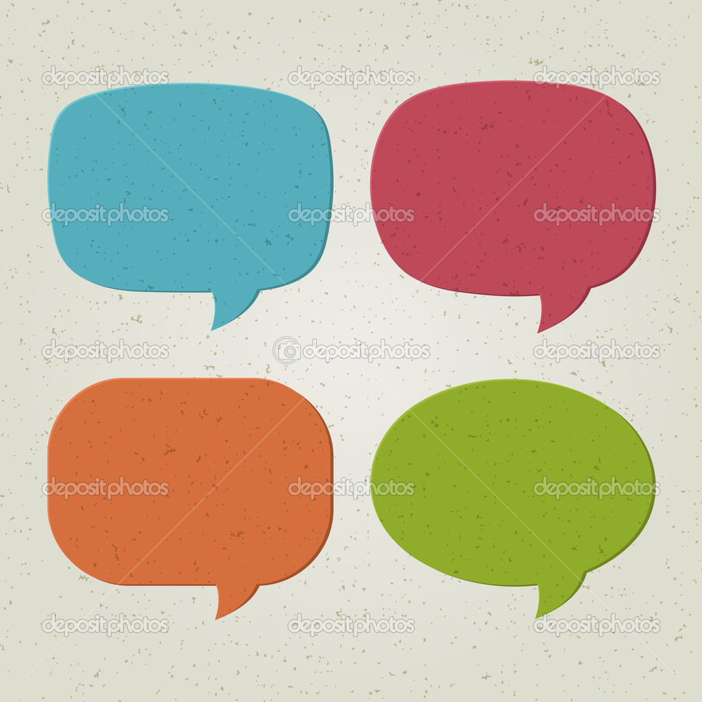 Retro speech bubbles set illustration  Stockvectorbeeld #7344942