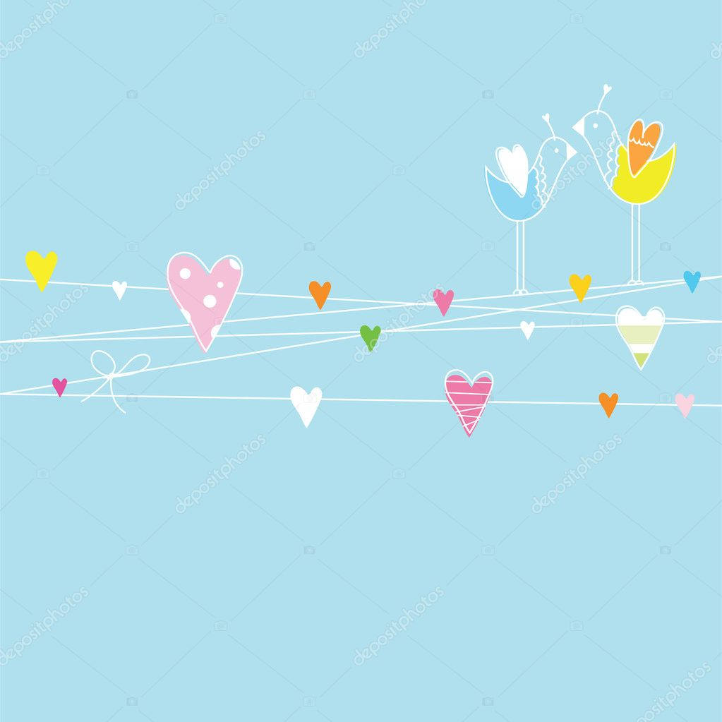 Card with birds and hearts  with copy space — Stock Vector #6995383