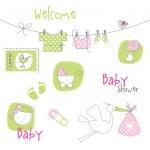 elementos de design de chuveiro de bebê — Vetorial Stock
