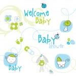 éléments de conception bébé douche — Vecteur