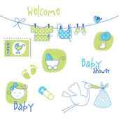 Baby shower design elements — Vector de stock