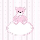 Teddy bear for baby boy - baby arrival announcement — Stock Vector