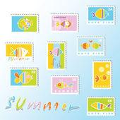 Poissons - timbres — Vecteur