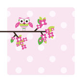 Owl - greeting card — Stok Vektör