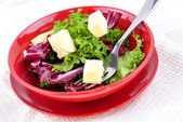 Mixed leaf salad with fresh cheese ready to eat and a fork — Stock Photo