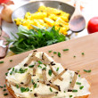Soft cheese on bread with grated summer truffle — Stock Photo